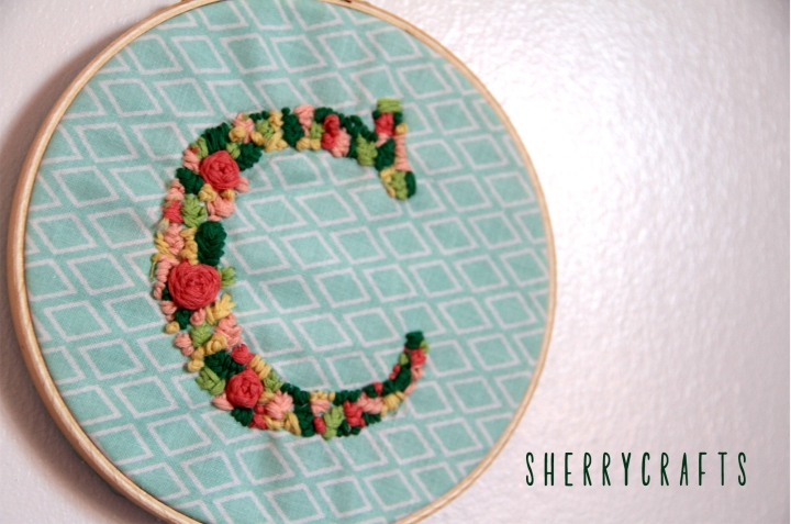 Beautiful DIY Embroidered Letter Hoop